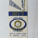 Rosemead Bowl El Monte California 20 Strike Vntage Bowling Sport Matchbook Cover