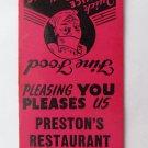 Preston's Restaurant Richmond, VA Virginia 20 Strike Matchbook Cover Matchcover