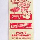 Paul's Restaurant Waycross, GA Georgia 20 Strike Matchbook Cover Match Cover USA