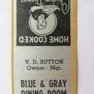 Blue & Gray Dining Room Virginia VA Vintage Restaurant 20 Strike Matchbook Cover