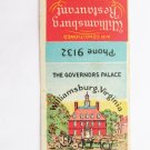 Williamsburg Restaurant The Governors Palace Virginia 20 Strike Matchbook Cover
