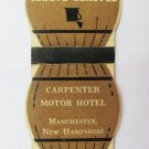 Carpenter Motor Hotel Manchester, New Hampshire 20 Strike DieCut Matchbook Cover