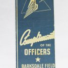 Barksdale Field Louisiana LA Vintage US Military 20 Strike Matchbook Match Cover
