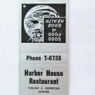 Harbor House Restaurant St. Petersburg Florida 20 Front Strike Matchbook Cover