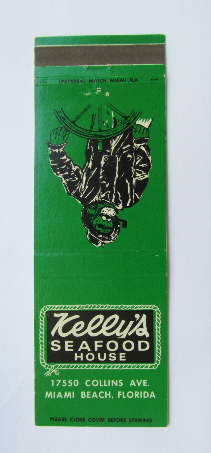 Kelly's Seafood House  Miami Beach, Florida Restaurant 20 Strike Matchbook Cover