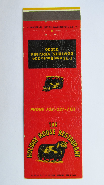 Holiday House Restaurant Dumfries, Virginia 20 Strike Matchbook Cover