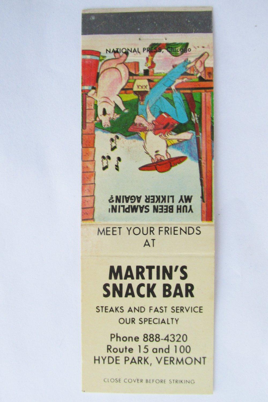 Martin's Snack Bar Hyde Park, Vermont Restaurant 20 FS Matchbook Cover Hillbilly
