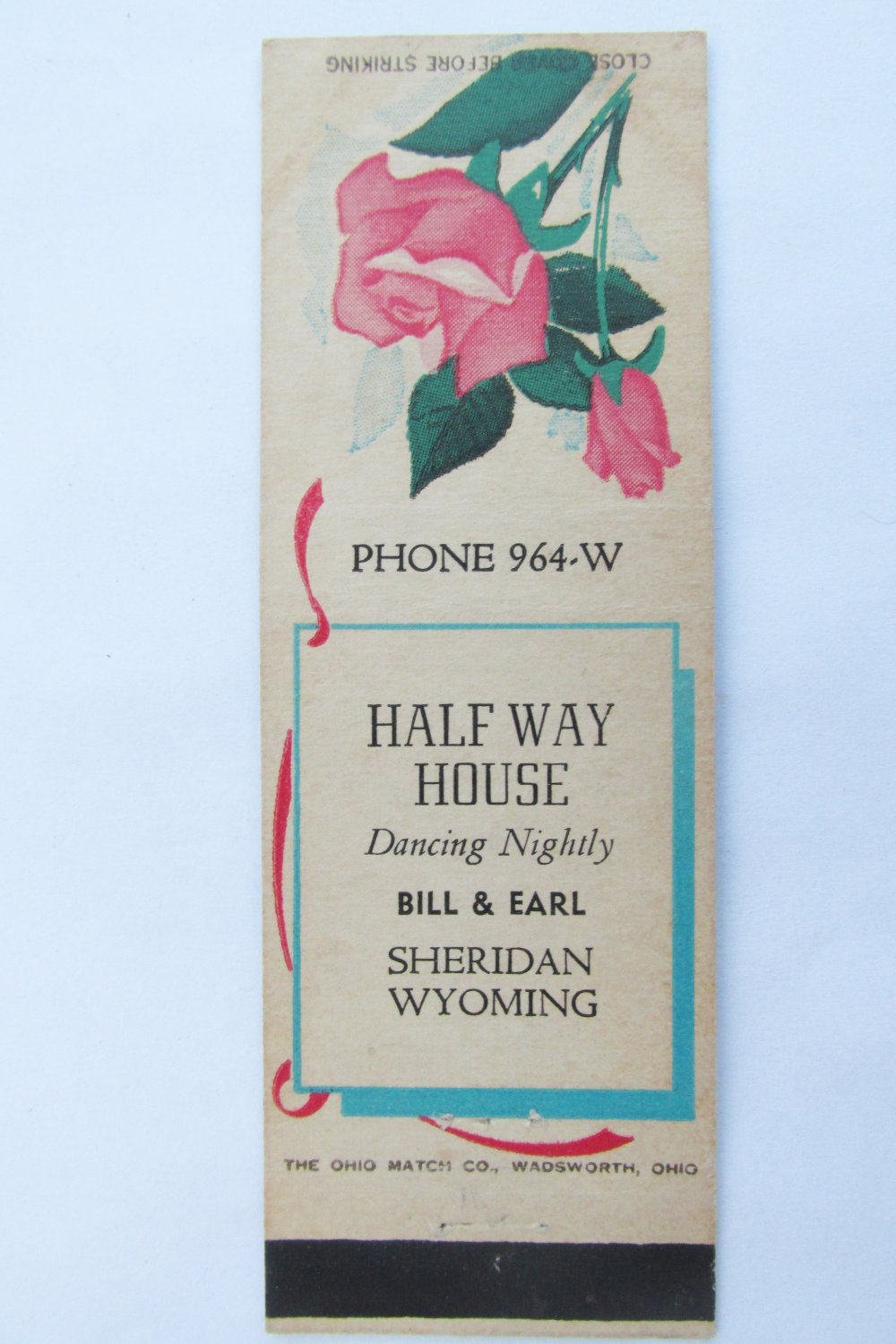 Half Way House - Sheridan, Wyoming Restaurant 20 FS Matchbook Cover Matchcover