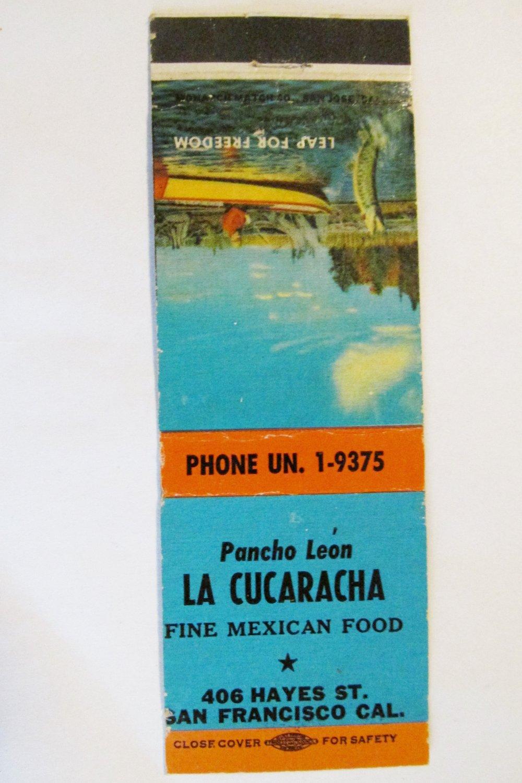 La Cucaracha Mexican Restaurant San Francisco, California 20 FS Matchbook Cover
