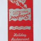 Holiday Restaurant Virginia Beach, VA - 20 Front Strike Matchbook Match Cover