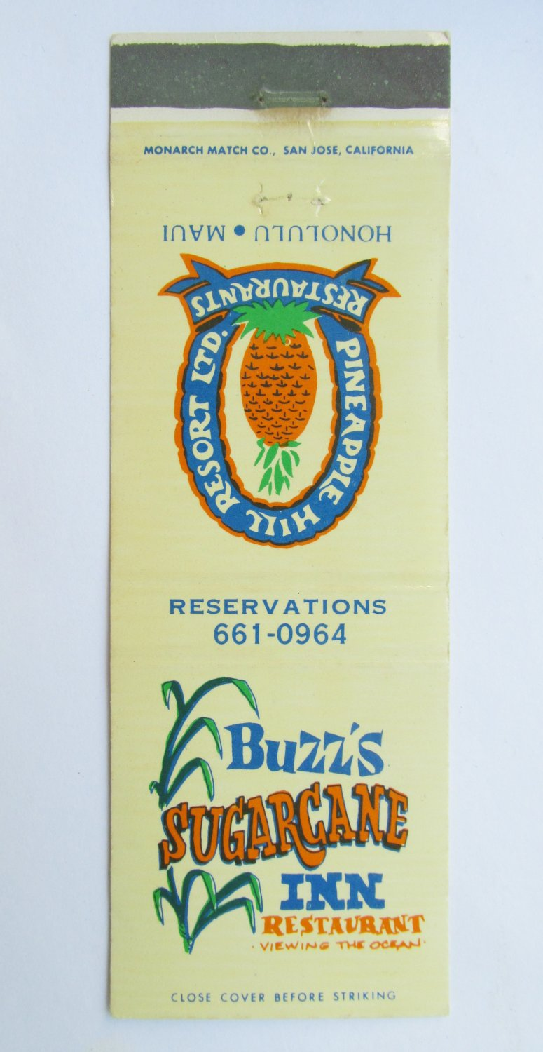 Buzz's Sugarcane Inn Restaurant Honolulu, Maui, Hawaii 20 Strike Matchbook Cover