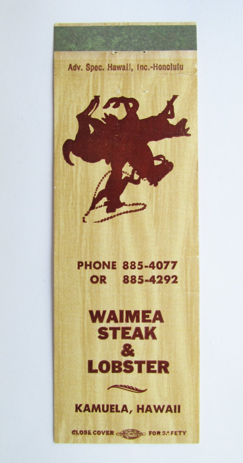Kamuela, Hawaii Restaurant Waimea Steak & Lobster 20 Strike Matchbook Cover