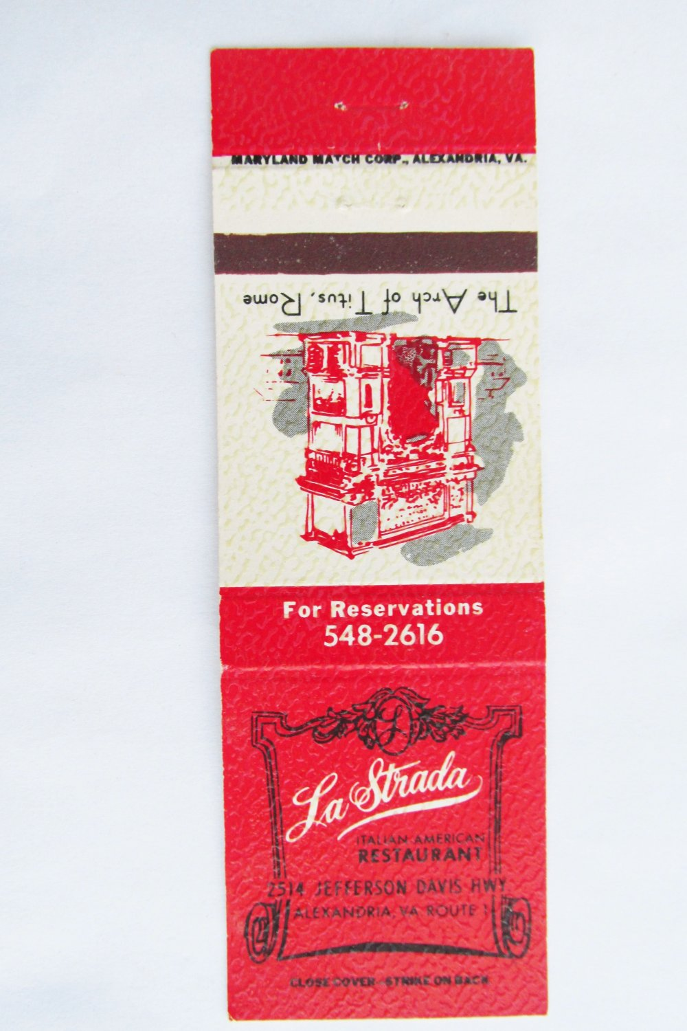 La Strada Restaurant Alexandria Virginia 20 Strike Matchbook Cover Arch 0f Titus