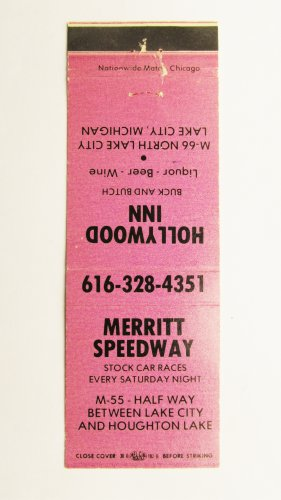 Merritt Speedway Stock Car Races Michigan 20 Strike Vintage Matchbook Cover