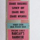 Barclay's Barbecue - Lancaster, Pennsylvania Restaurant 20 Strike Matchbook Cover