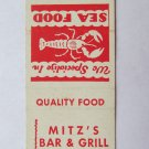 Mitz's Bar & Grill - York, Pennsylvania PA Restaurant 20 Strike Matchbook Cover