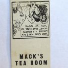 Mack's Tea Room - Raleigh, North Carolina Restaurant 20 Strike Matchbook Cover