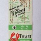 Tremont Restaurant Sea Food - York, Pennsylvania 20 Strike Matchbook Cover PA