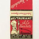 A La Fourchette Restaurant - New York 20 Strike Matchbook Cover Lion Match Co.