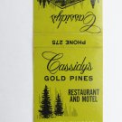 Cassidy's Gold Pines Restaurant Motel Hinckley, Minnesota 20FS Matchbook Cover