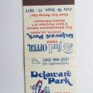 Delaware Park Stanton Horse Racing 1977 20 Strike Vintage Sports Matchbook Cover