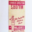 Major's Military Stores Los Angeles Santa Ana California 20 FS Matchbook Cover