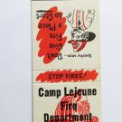 Camp Lejeune Fire Department North Carolina NC Vintage 20 Strike Matchbook Cover