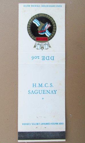HMCS Saguenay DDE 206 Vintage Canadian Ship Military 20 Strike Matchbook Cover