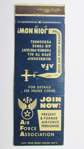 Air Force Association AFA Washington DC Vintage Military 20 Strike Match Cover