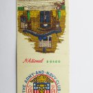 Army & Navy Club Washington DC Vintage 20 Strike Military Matchbook Match Cover