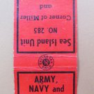 Sea Island Unit Veterans Canada Vintage 20 Strike Military Matchbook Cover
