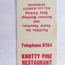 Knotty Pine Restaurant US Route 7 N Bennington Vermont 20 Strike Matchbook Cover