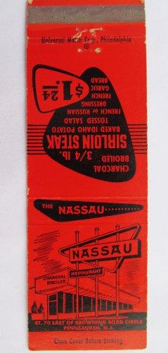 The Nassau Restaurant Pennsauken, New Jersey NJ 20 Strike Matchbook Match Cover