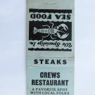 Crews Restaurant Sea Food Brunswick, Georgia 20 Strike Matchbook Match Cover