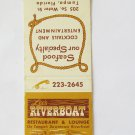 Lee's Riverboat Restaurant Lounge Tampa, Florida 20 Strike Matchbook Match Cover