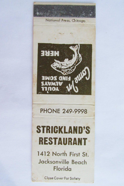 Strickland's Restaurant Jacksonville Beach Florida 20 Strike Matchbook Cover