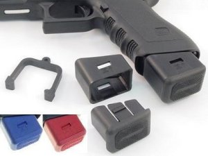 Arredondo Checkered Mag Ext Red +6/9mm +5/40 LWARR-GLKCRED
