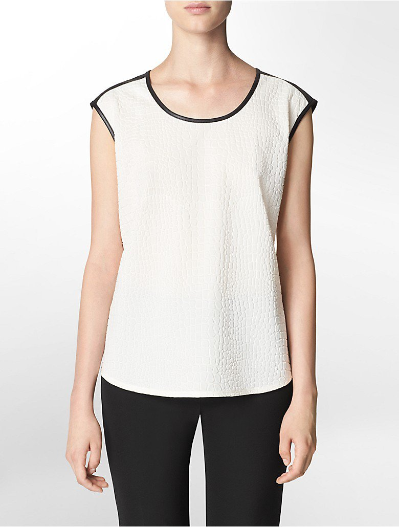 NWOT Calvin Klein Embossed Cap Sleeve Top