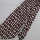 Endangered Species Silk Tuxedo Penguin Maroon Tan Neck Tie Men Designer Tie EUC