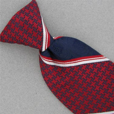 VTG Snapper Stripe Texture Red Blue Houndstooth Clipon Clip-On 60s  Neck Tie V-4