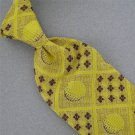 VINTAGE DANBURY YELLOW BROWN CIRCLES GEOMETRIC TEXTURE 60s 70s Neck Tie #V-2