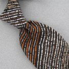 VTG EUROPEAN COLLECTION BLACK BROWN STRIPE THICK WIDE 60s 70s Neck Tie #V-2