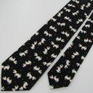 """Vintage Rare 3 1/8"""" Hand Made Cotton Dogs Black Whtie Red Necktie Neck Tie #EV"""