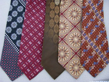 Vtg 5 Wembley JC Penney Art Art Nouveau Geomatric Texture 70s Necktie Ties Lot