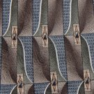 HAGGAR BROWN GREEN BLUE WHITE SILK NECK TIE EUCMen Designer Tie EUC