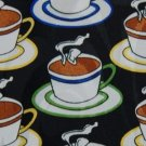#1A RUDDEE RICCO 'COFFE CUPS' BLACK BROWN BLUE TIE NECKTIE