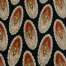 #1A STAFFORD Italy OVAL BLACK ORANGE GOLD SILK NECK TIE
