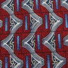 ALLEGRO ITALY RED GREY BLUE SILK MEN NECK TIE Men Designer EUC