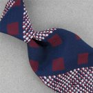 Vtg GOLDEN CLASP Geomatric Stripe Navy Red Texture 60s 70s Men Neck Tie #V-4 EVC