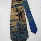 LOST KINGDOM USA ELEPHANT ART DECO BLACK Sandy Neck Tie Men Designer Tie EUC